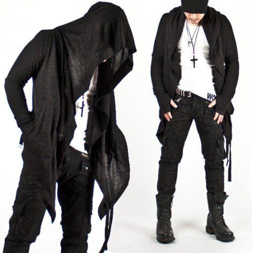 1a5fb6c1d9a361 New-Mens-Fashion-Mod-Avant-garde-Dark-Punk-Hood-Charcoal-Cape-Cardigan-Jacket
