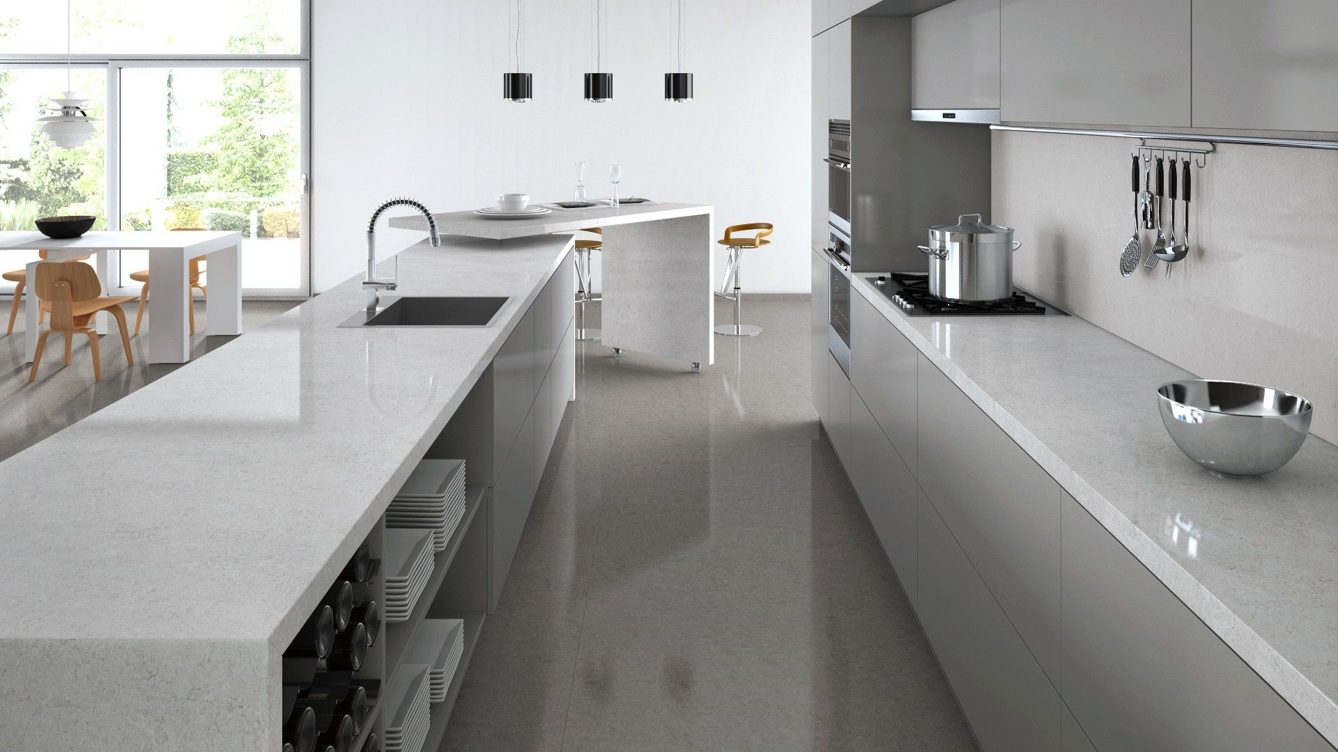 Caesarstone Visualizer Light Grey Cabinets And Bianco Drift Stone Bench Tops Kitchen Kitchen Flooring Kitchen Kitchen Design Software