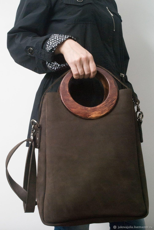 445c0a383b2f Julia jukova bags Купить Сумка пакет, натуральная кожа и дерево -  коричневый, сувенир, сумочка, коричневая сумка