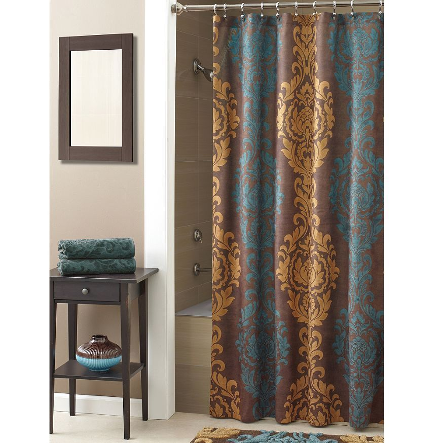New Croscill Correge Damask Faux Suede Fabric Shower Curtain Teal