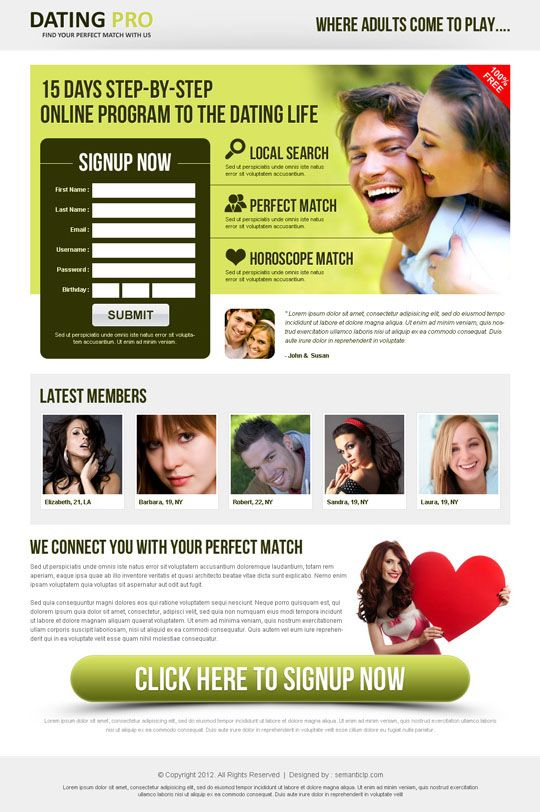 Dating landing page design