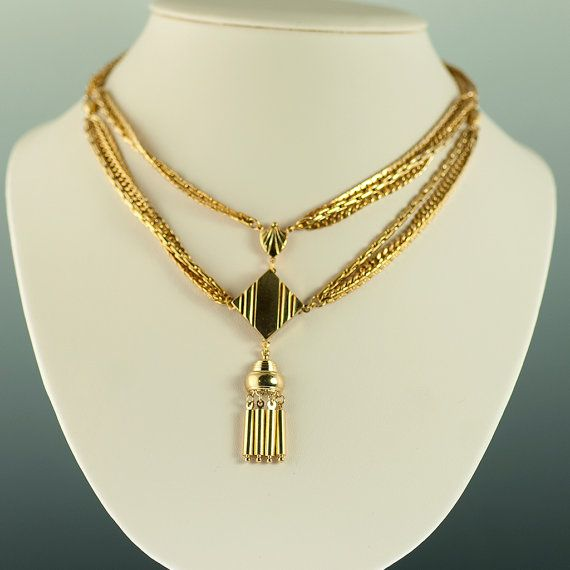 1960s Egyptian Revival Necklace by KrombholzJewelers on Etsy, $175.00
