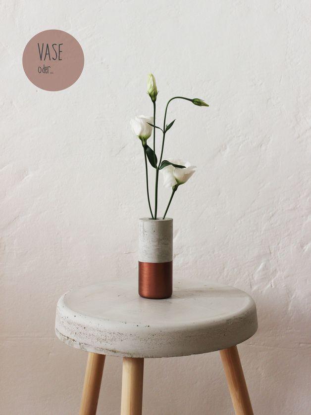 Vase Aus Beton Mit Lackierung In Kupfer Hocker