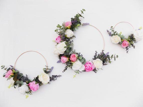 Photo of Wedding flower hoop wreath bridal bouquet bridesmaid bouquet eucalyptus minimalist wreath hoop decor