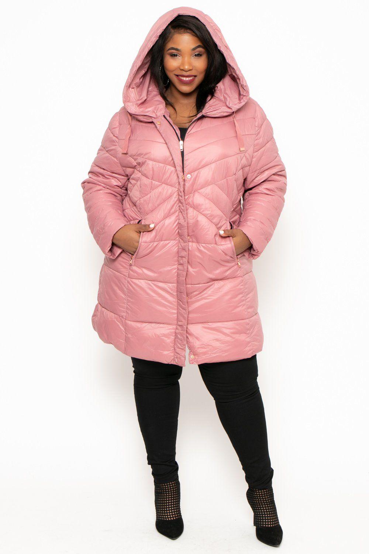 Plus Size Longline Hooded Puffer Coat Mauve Curvy Sense Plus Size Clothes Trendy Plus Size Clothing [ 1500 x 1000 Pixel ]