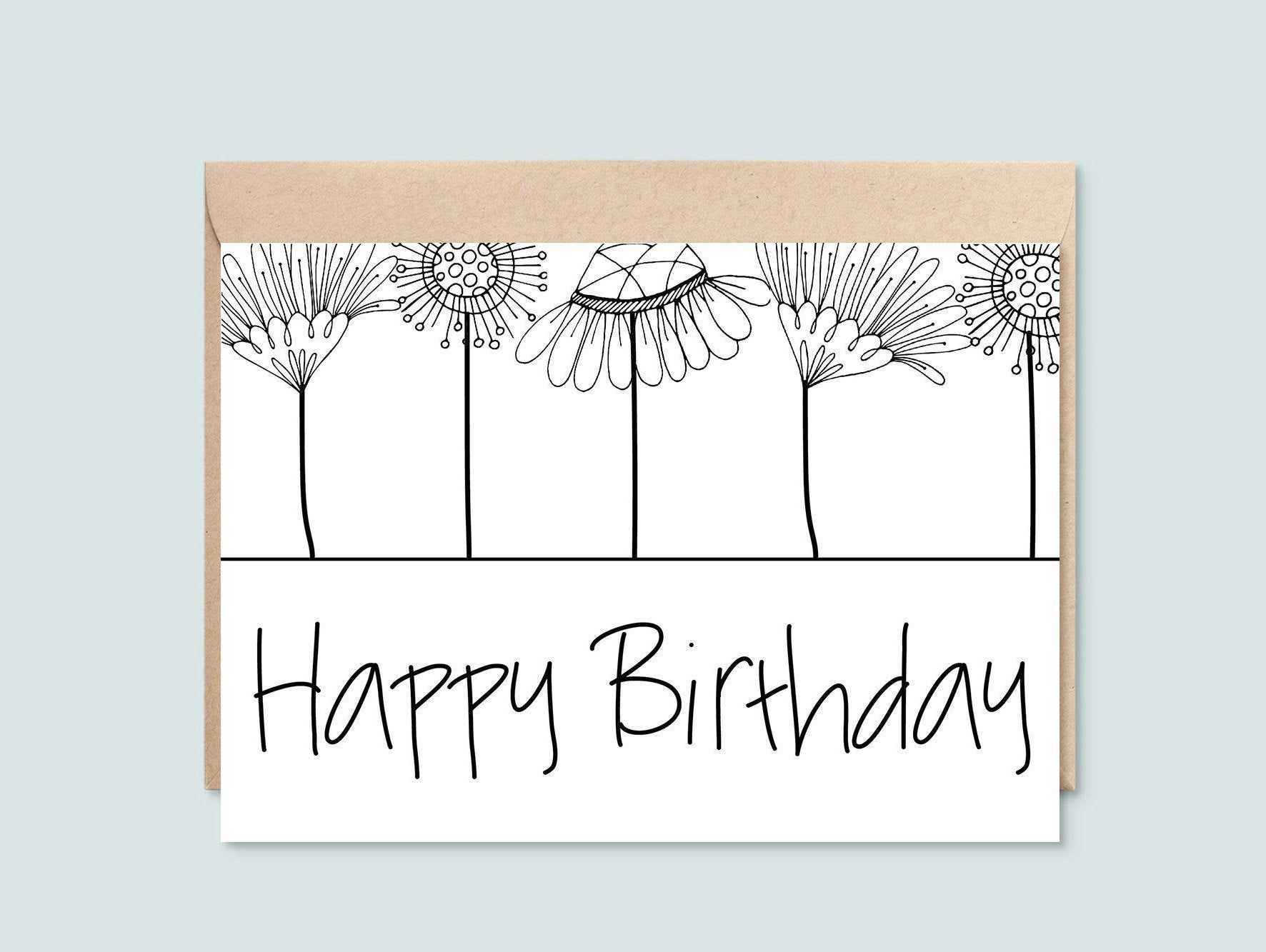 Birthday Card For Her Printable Happy Birthday Black And White Floral Instant Download 5x7 Greeting Card Mother Sister Wife Grandma Birthday Cards For Her Birthday Cards Happy Birthday Black