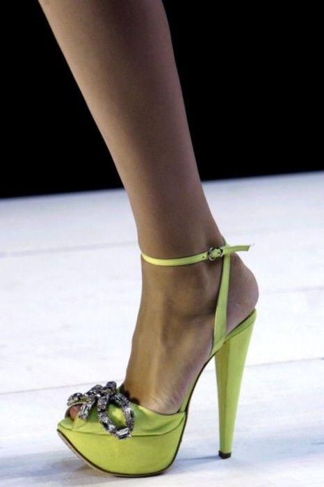 Giambattista Valli Green High Heel Platform Sandal