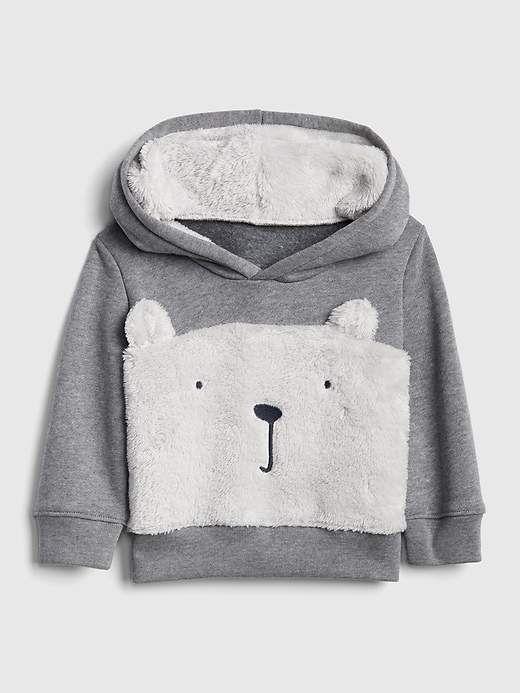 85a26ab48 Gap Baby Sherpa Bear Hoodie Sweatshirt Heather Grey