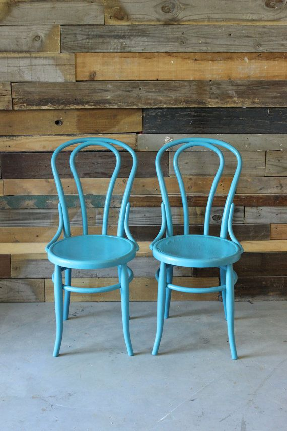 Pair Of Thonet Style Vintage Bentwood Cafe Chairs W