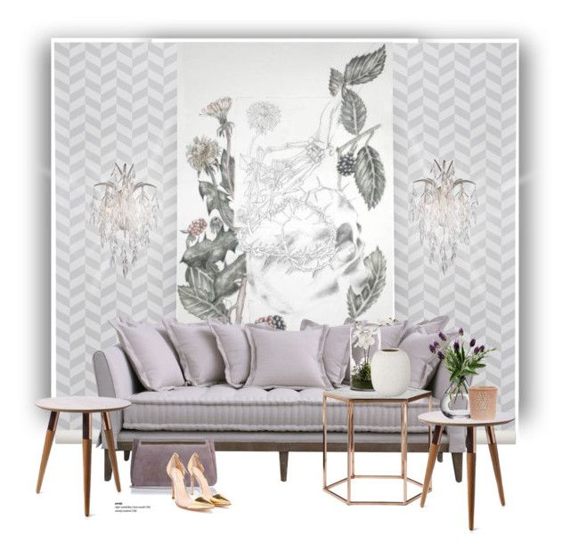 """""""Theory day bed sofa..."""" by gloriettequartet ❤ liked on Polyvore featuring interior, interiors, interior design, home, home decor, interior decorating, ferm LIVING, Metropolitan, Bloomingville and Jimmy Choo"""