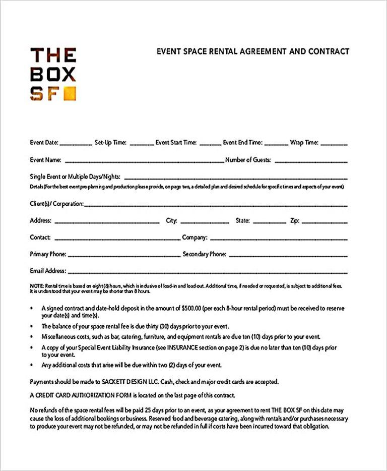 Event Room Agreement Template Pdf Free Download Business