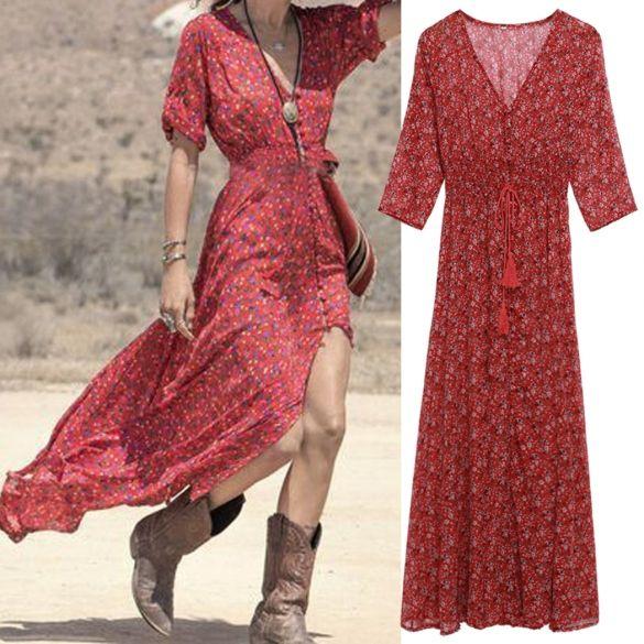 3b5bb147d2e Longue robe asymétrique bohème rouge - bestyle29.com