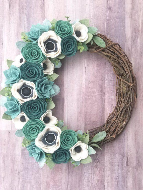 Photo of Teal wreath – felt flower wreath – grapevine wreath – modern wreath – turquoise flowers – felt wreath – felt flowers – peasant wreath