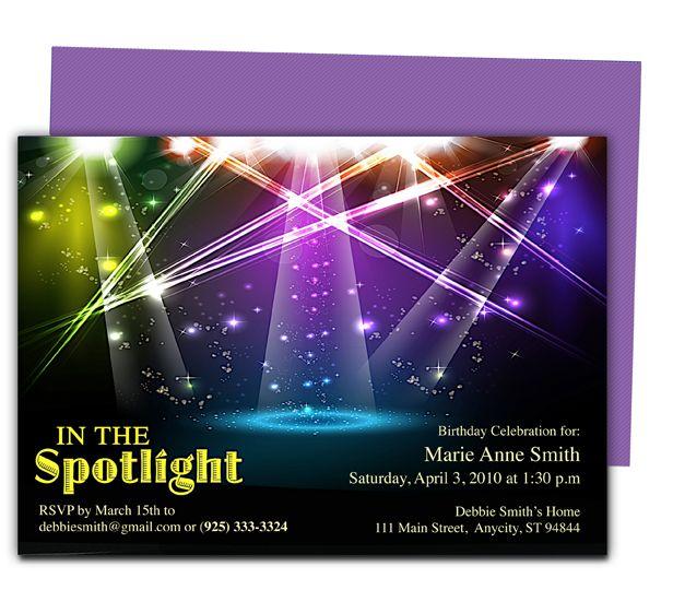 General Birthday Spotlight Birthday Invitation Template Birthday Party Invitation Templates Party Invite Template Birthday Invitation Templates