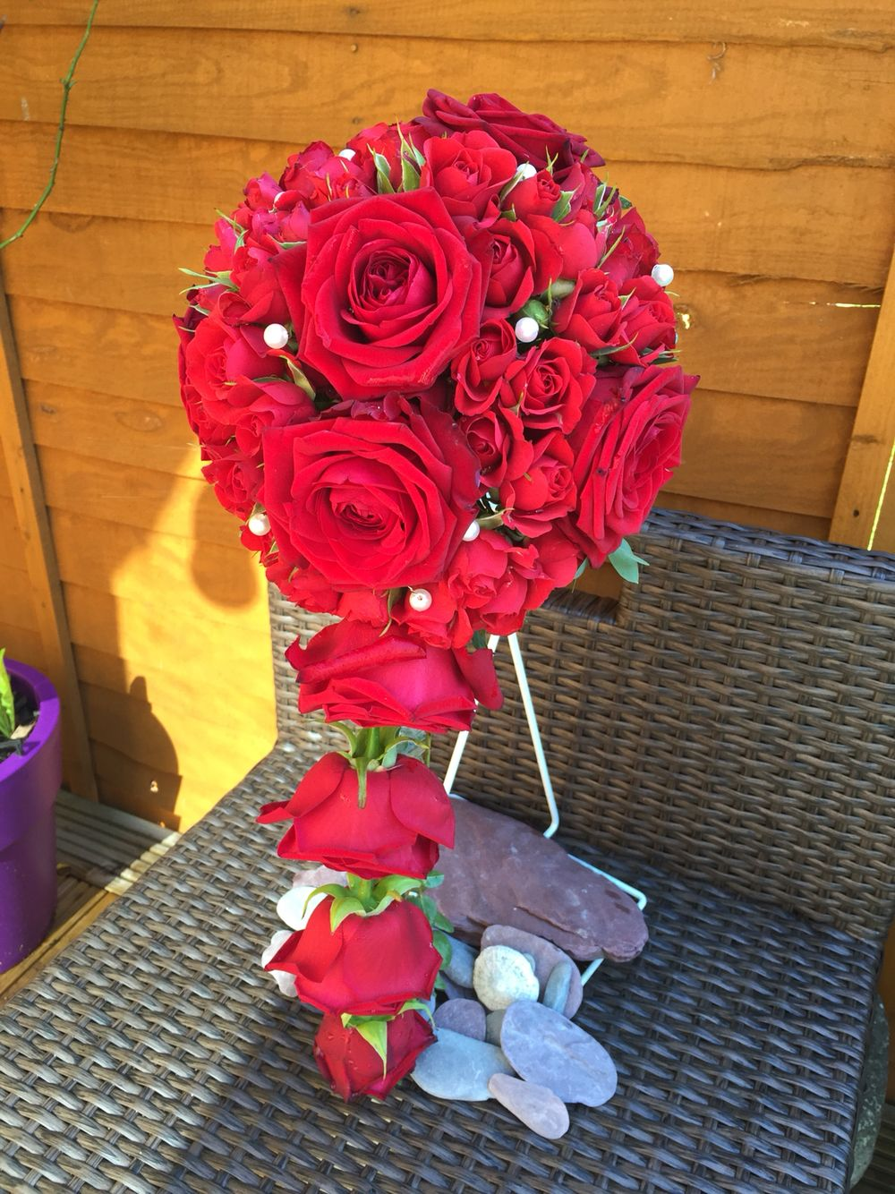 Red roses shower bouquet
