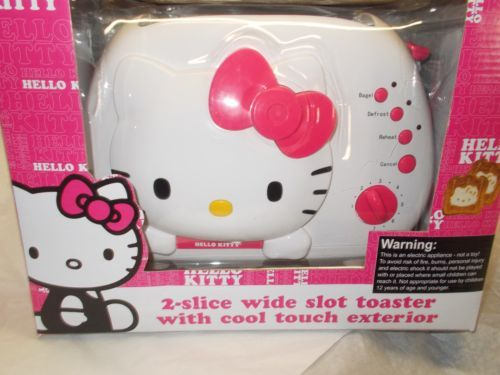 Sanrio Hello Kitty Toaster 2 slice wide slot face on toast Brand new in the box