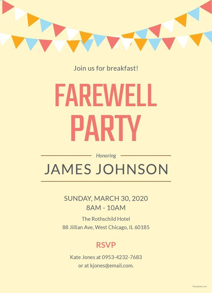 Free Farewell Flyer Templates Free Farewell Breakfast Party