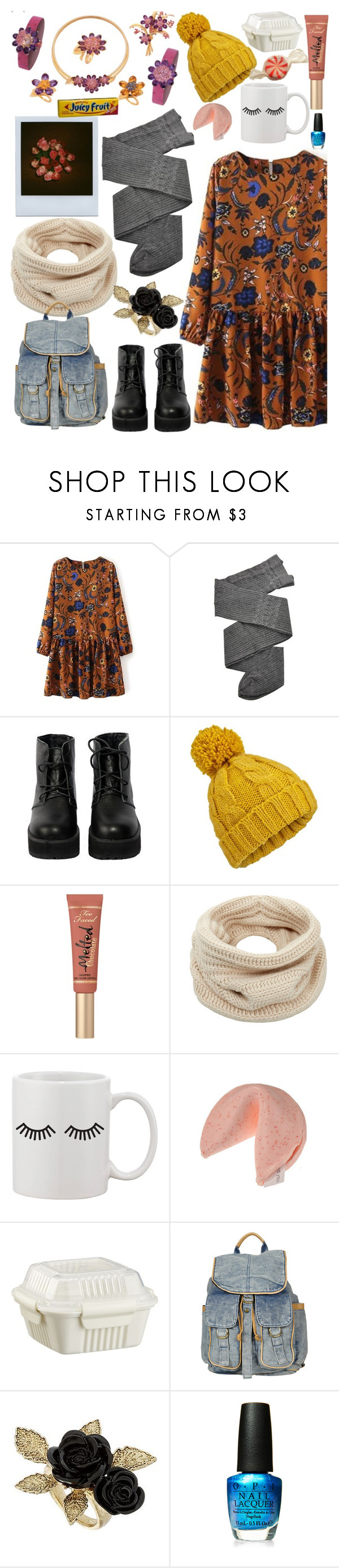 """""""in case of emergency"""" by ivyfanfic ❤ liked on Polyvore featuring Pieces, Trasparenze, The WhitePepper, Miss Selfridge, Too Faced Cosmetics, Helmut Lang, FRUIT, Crate and Barrel, Topshop and OPI"""