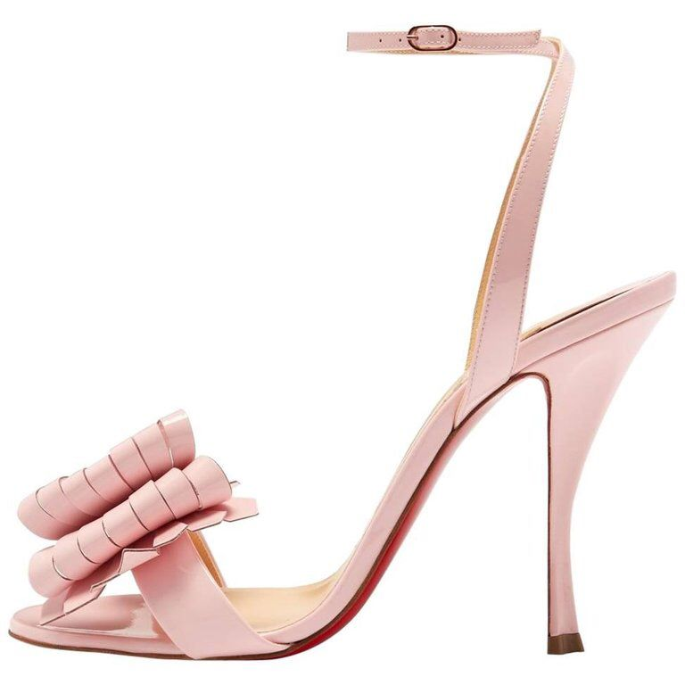 san francisco 45897 81d2a Christian Louboutin New Pink Patent Bow Evening Sandals ...