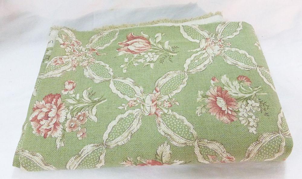 P Kaufmann fabric vat color floral mint green soil stain repellent USA  #PKaufmann