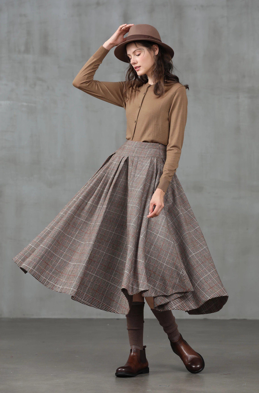pleated check wool skirt, midi wool skirt, winter skirt, wool winter skirt, vintage skirt, brown skirt, party skirt | LinennaiveBestseller