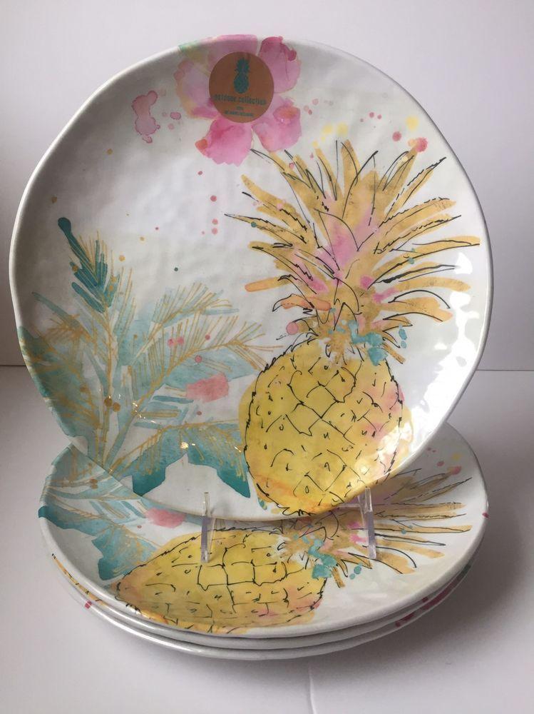 IndoorOutdoor Collection Pineapple Hibiscus MELAMINE Dinner