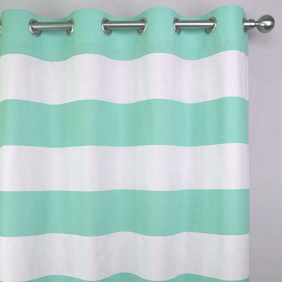 Mint Green White Cabana Horizontal Stripe Curtains Grommet 84
