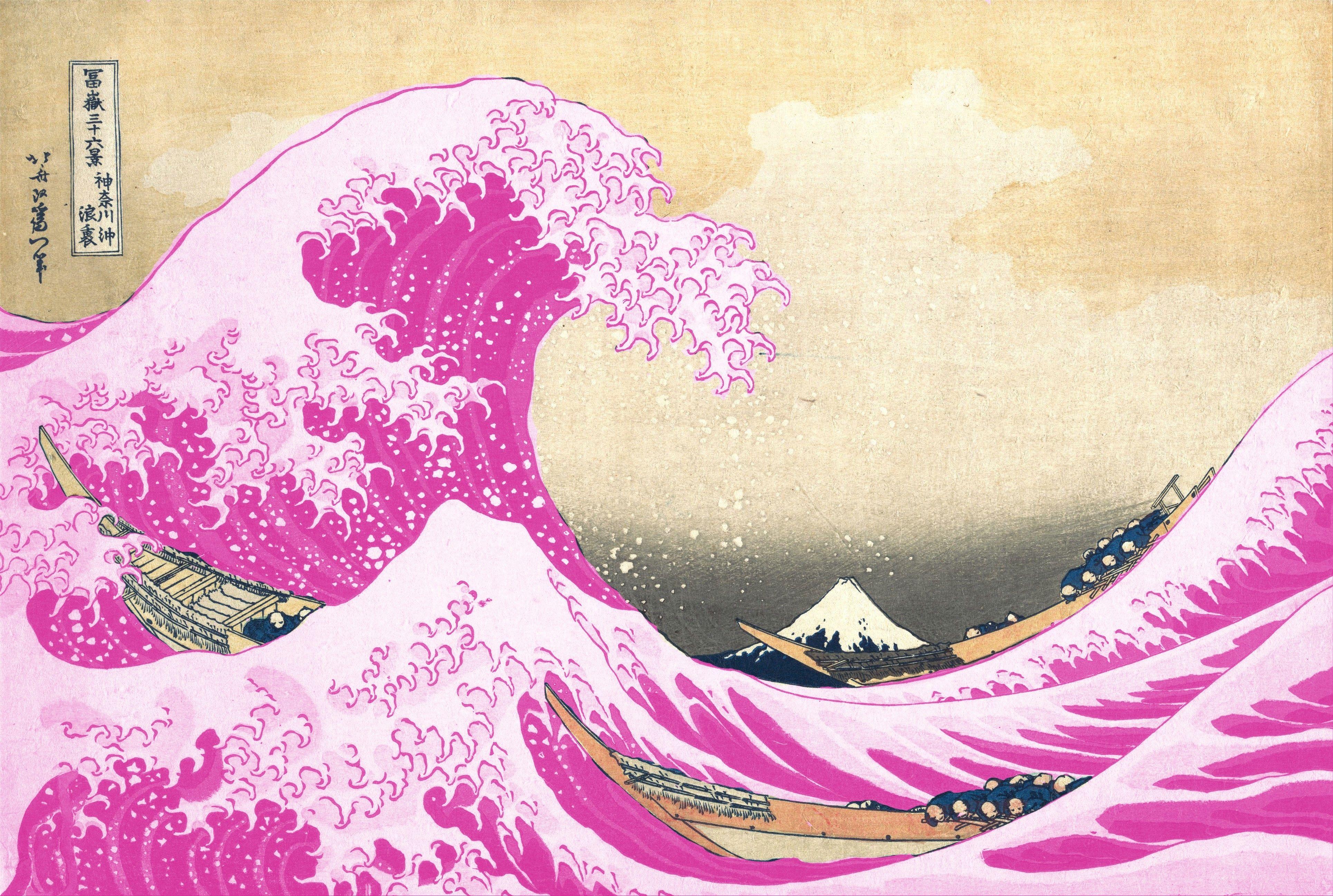The Pink Wave Was Always Blue Wave Art Waves Wallpaper Waves Cartoon