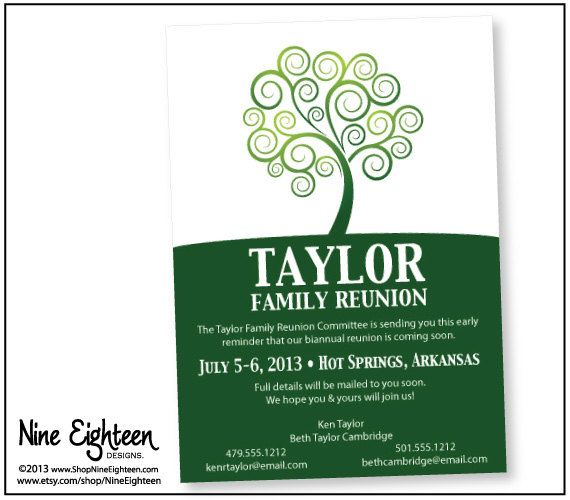Family Reunion announcment Party Ideas Pinterest Family - invitations for family reunion
