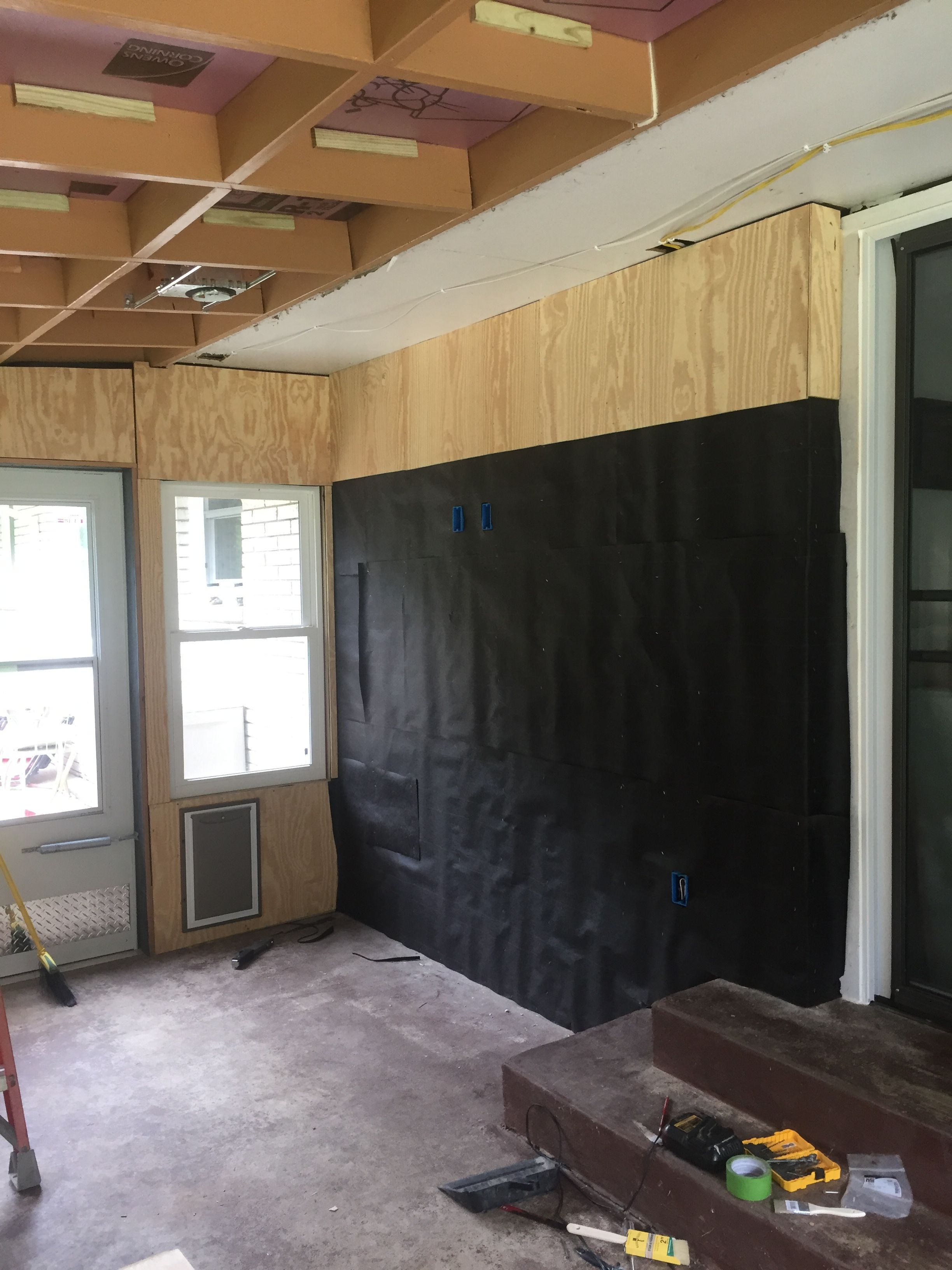 Installing 3 8 Rough Sawn Cedar Plywood Panels Over A Vapor Barrier Of 15 Lb Felt Paper On The Inside Of The 3 Sea Room Additions Cedar Plywood 3 Season Room
