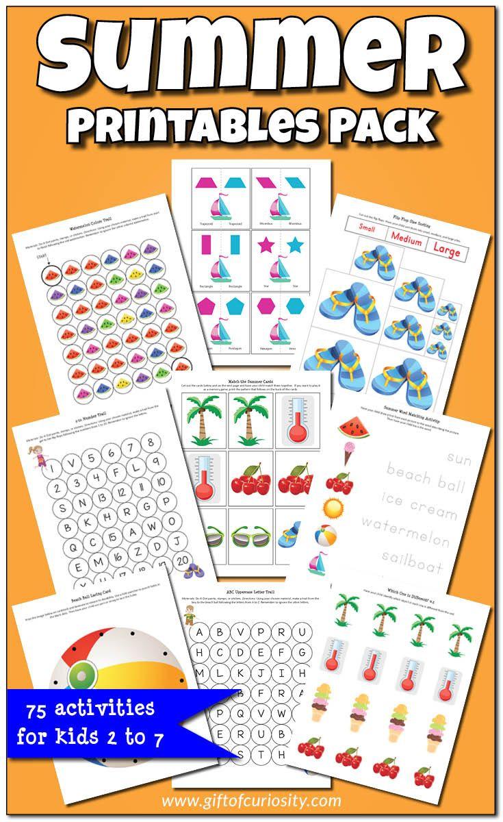 Summer Printables Pack Fun summer activities, Kids