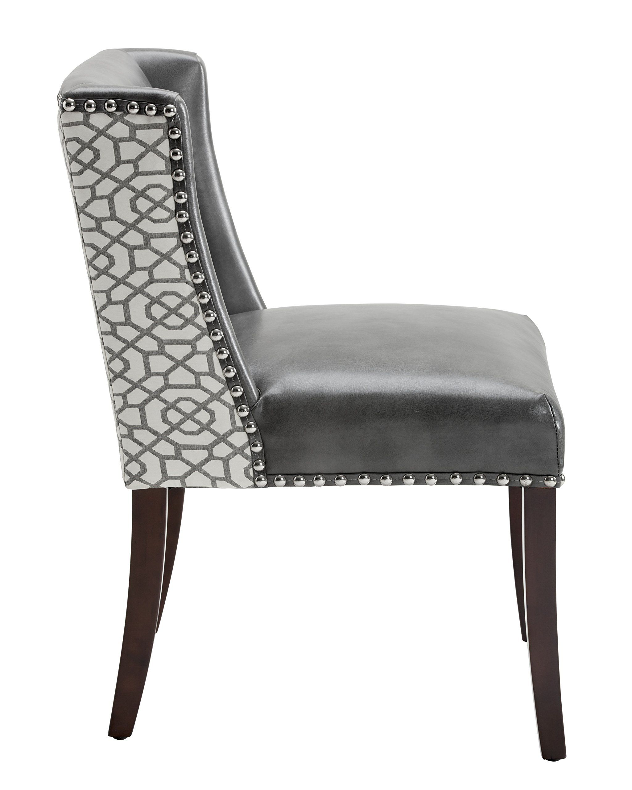 Sunpan Modern Marlin Dining Chair with Grey Leather and ...