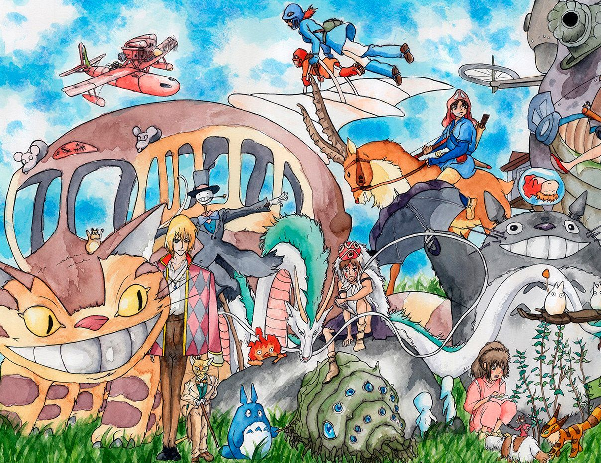 Studio Ghibli Compilation Prints Get This Lovely Compilation Printed In Any Size You Want In A Thick Paper Perfect Fo Studio Ghibli Kawaii Wallpaper Ghibli