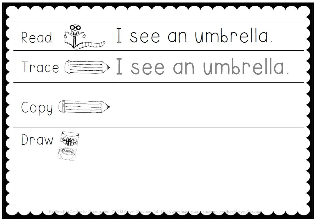 Making And Writing Fall Sentences For Kindergarten Vocab