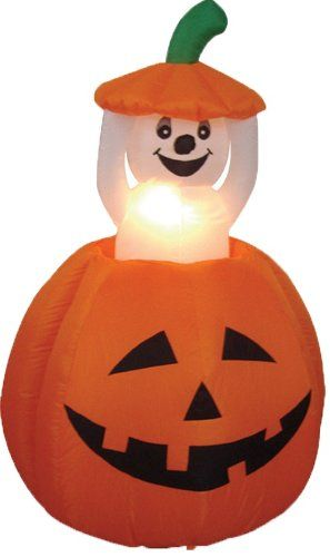 4 Foot Animated Halloween Inflatable Pumpkin and Ghost Yard Garden - halloween inflatable decorations