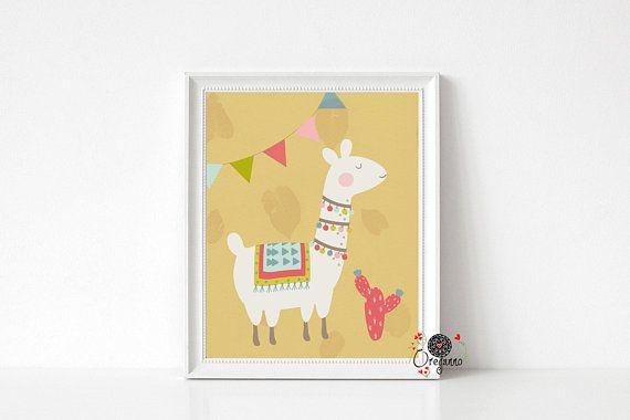 Llama wall art-kids room decor-Nursery wall art-Children room decor ...