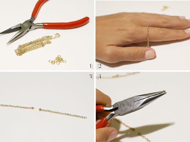 Do it yourself dainty gold ring diy jewelry pinterest craft this diy chain ring can be made in only 5 minutes using an old chain jewelry and a plier solutioingenieria Choice Image