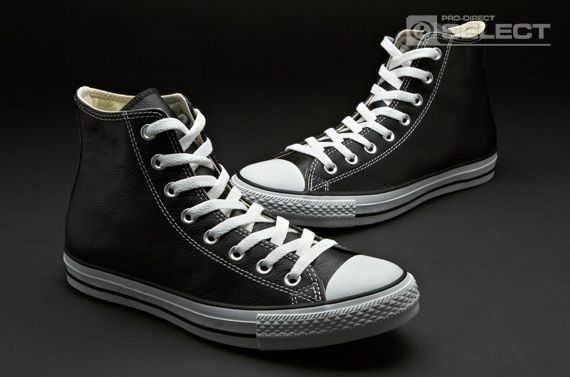 Converse Unisex - Chuck Taylor All Star Leather - High - Leather - Footwear  - Black   White  0dce01e95