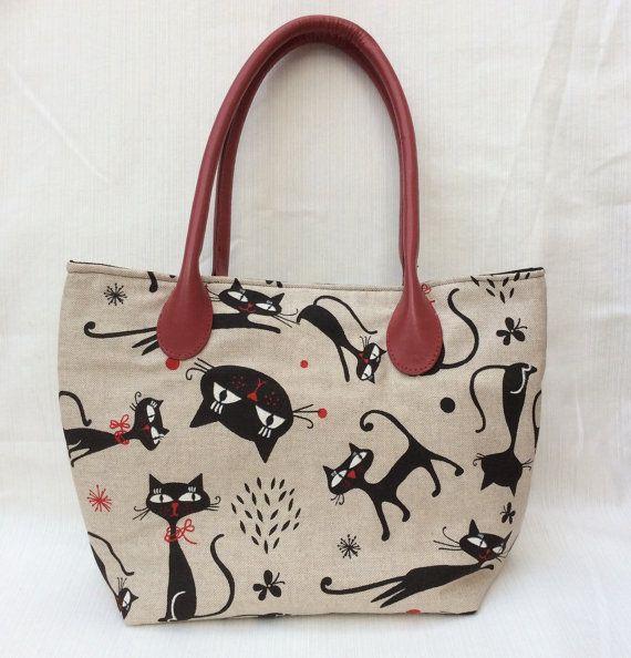 Handbag Cat Handbag Shoulder Bag Linen Cat Handbag by TotesByWendy