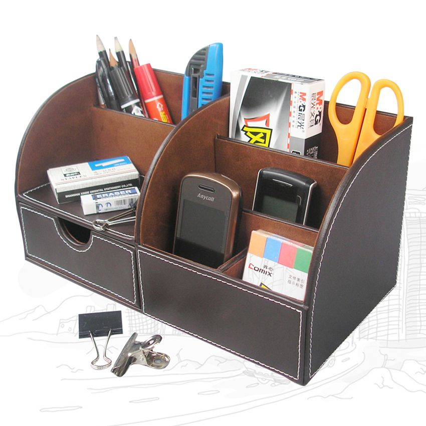 Ever Perfect 8PCS/Set Leather Office Business Desk File Cabinet Stand  Stationery Organizer Pen Holder