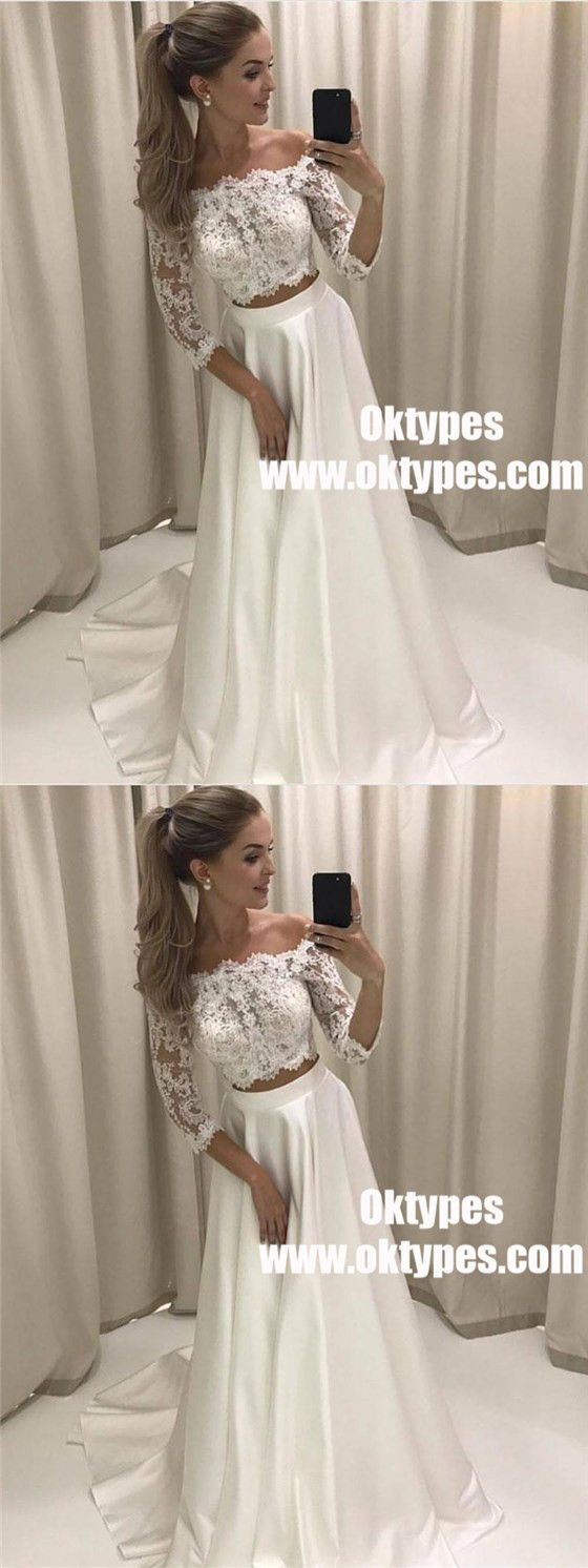 Cheap long sleeves sexy two pieces wedding dresses online typ