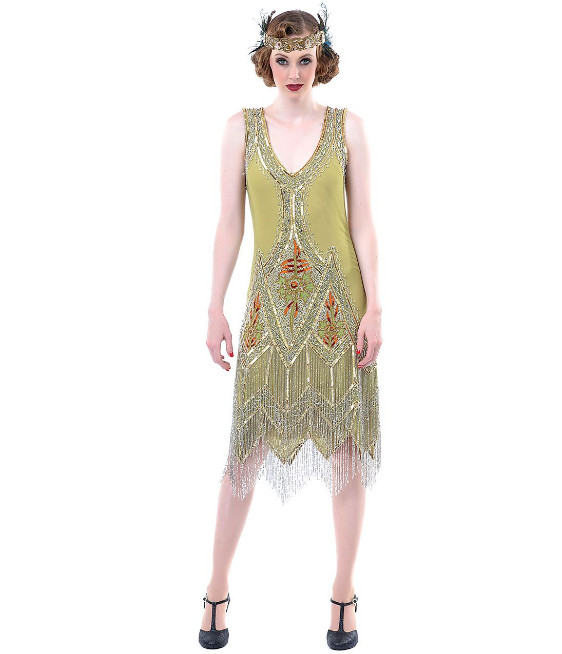 149 Unique Vintage Green & Silver Embroidered Somerset Flapper ...