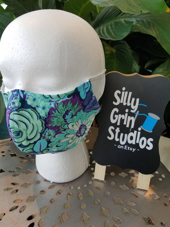 100% Cotton Face Mask BLUE Flower-Groomer Mask-Nail -Tech Mask - Flu ...