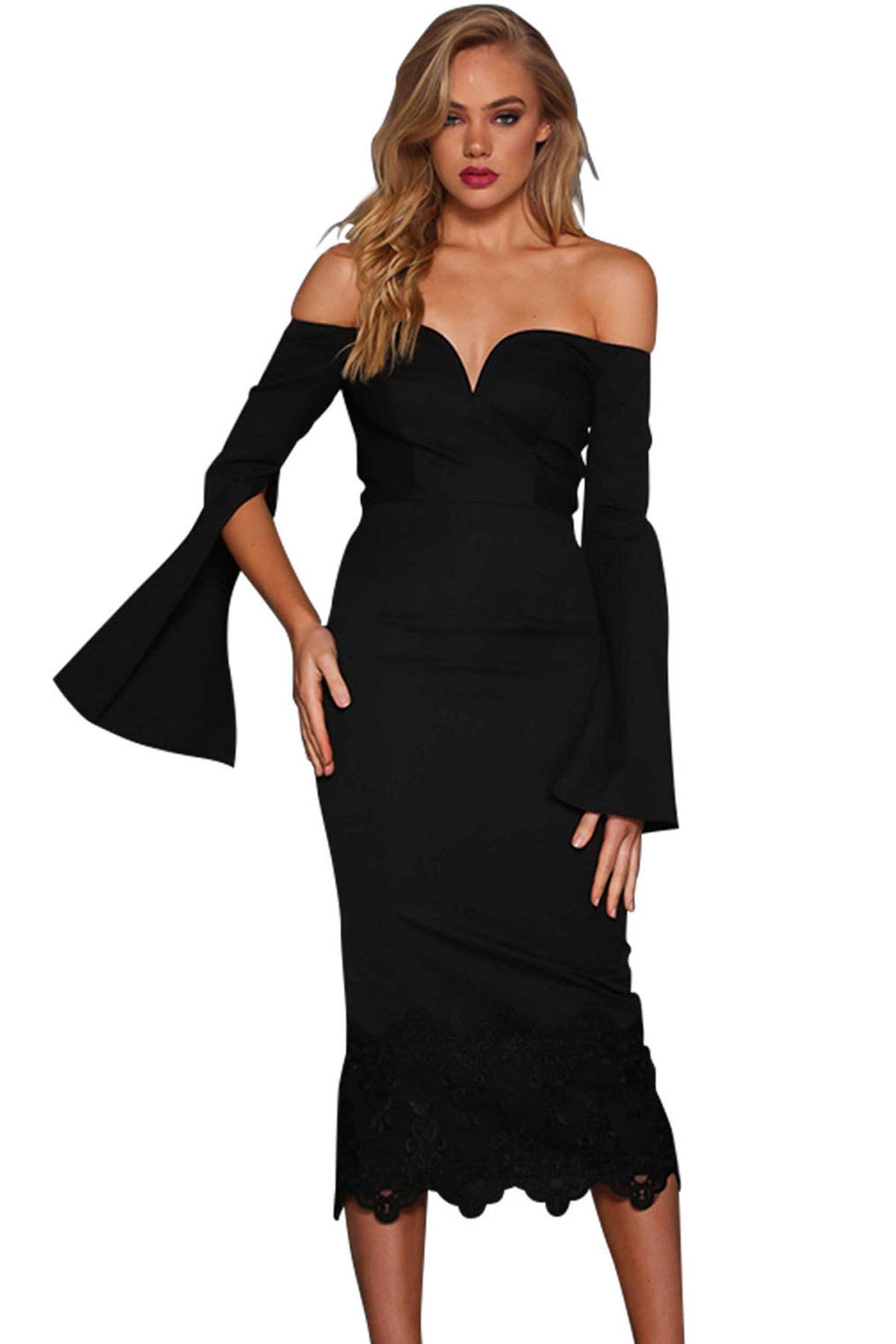 f96ca0cf320 Black Split Bell Sleeve Off Shoulder Midi Dress