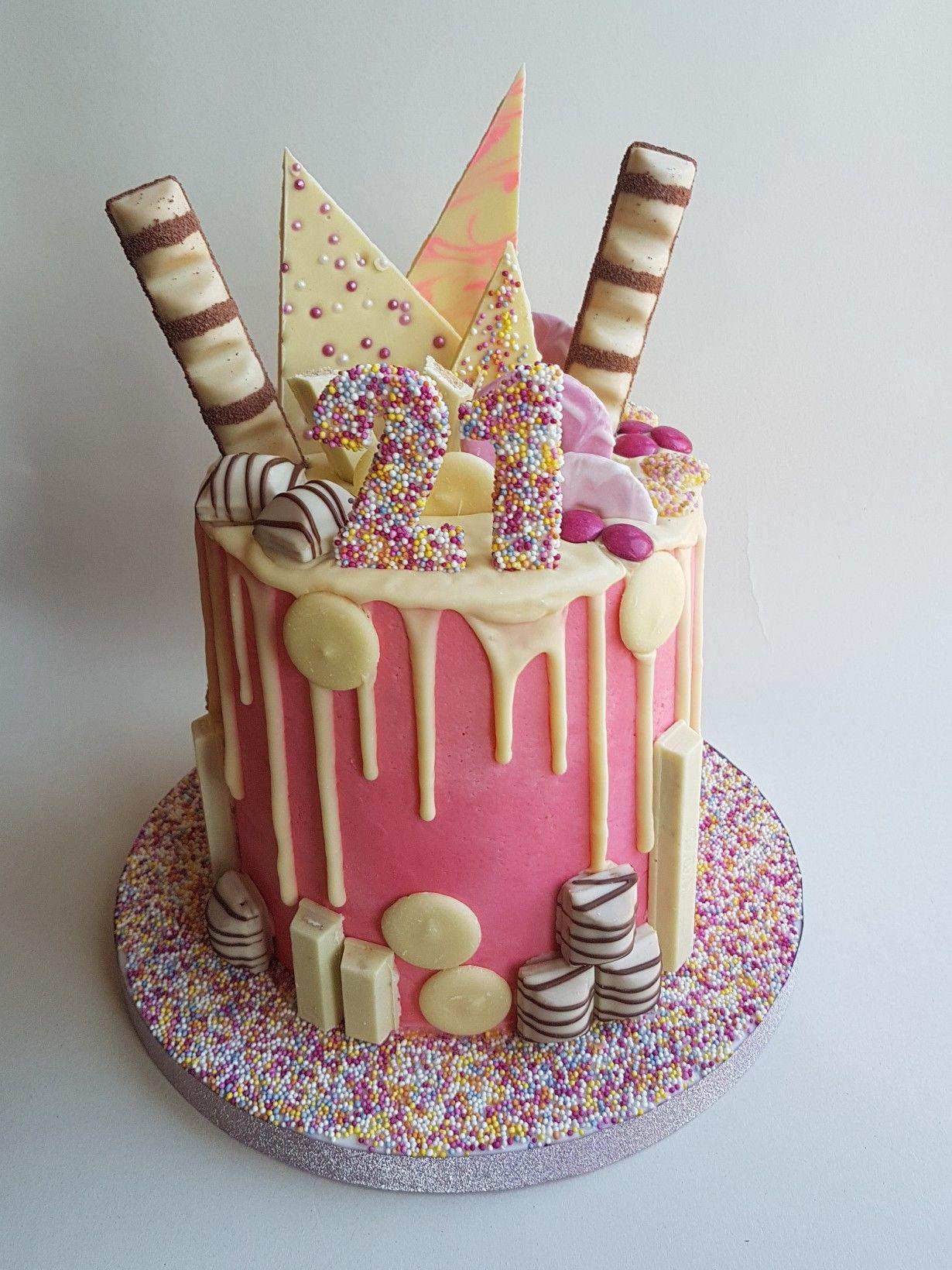 Pink 21st Drip Cake Pasteles Para Cumplea 241 Os In 2019