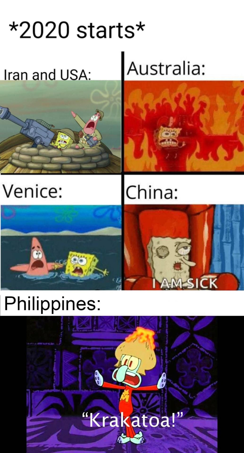 Krakatoa 2020 Australia China Iran USA spongebob meme in