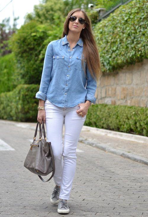 Denim Shirt  , Zara en Camisas / Blusas, Pull & Bear en Pantalones, Superga en Deportivas, Prada en Bolsos