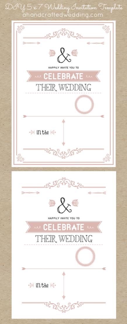diy 5x7 rustic chic wedding invitation template dusty rose ahandcraftedwedding