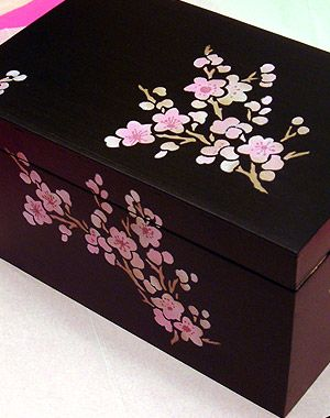 Hand Painted Black And Pink Blossom Box With Images Painted