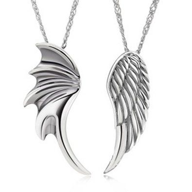 """A Pair of His and Her Platinum-plated """"Crystal Fashion"""" Charm Pendant with 18"""" Platinum-plated Fashion Necklace - Angel Wings (XM-N328)"""